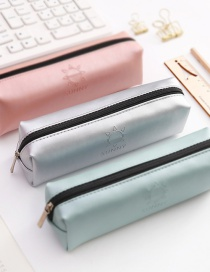 Simple Silver Color Pure Color Decorated Pencil Bag