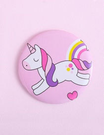 Fashion Pink Heart&unicorn Pattern Decorated Mirror