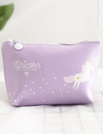 Fashion Purple Unicorn Pattern Decorated Storage Bag