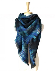 Fashion Blue Grid Pattern Decorated Scarf