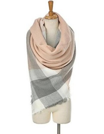 Fashion Pink Grid Pattern Decorated Scarf