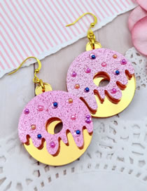 Fashion Gold Color+pink Round Shape Decorated Earrings