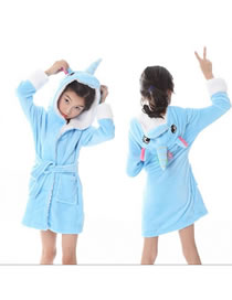 Fashion Blue Pure Color Decorated Pajamas