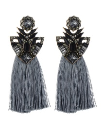 Fashion Gray Geometric Shape Decorated Tassel Earrings