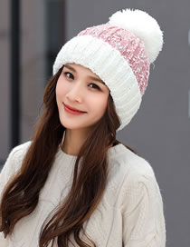 Fashion Pink+white Color-matching Decorated Hat