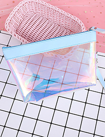 Fashion Blue Transparent Decorated Cosmetic Bag