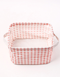 Fashion Pink Grids Pattern Decorated Storage Box
