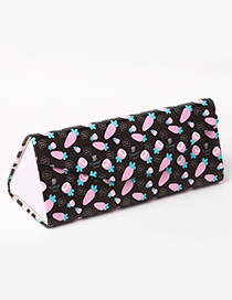 Fashion Black+pink Carrot Pattern Decorated Glasses Case