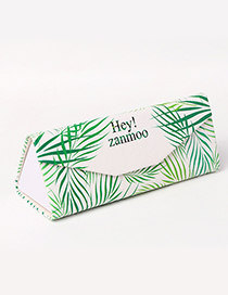 Fashion White+green Leaf Pattern Decorated Glasses Case