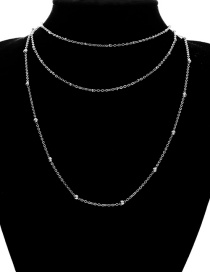 Fashion Silver Color Pure Color Design Multi-layer Necklace