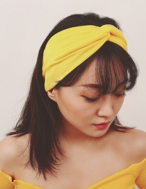 Fashion Yellow Pure Color Decorated Simple Hair Band
