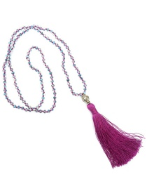 Bohemia Purple Buddha&beads Decorated Long Tassel Necklace