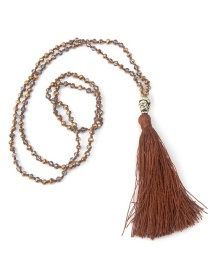 Bohemia Coffee Buddha&beads Decorated Long Tassel Necklace