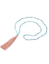 Bohemia Pink Long Tassel Decorated Beads Necklace