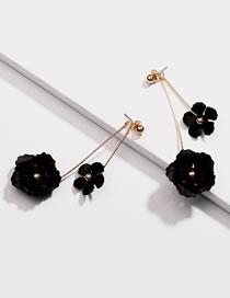 Fashion Black Flower Shape Decorated Earrings