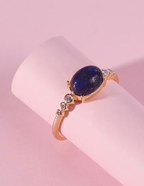 Fashion Blue Oval Shape Decorated Ring
