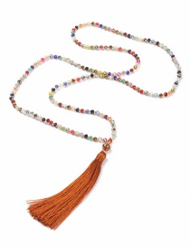 Fashion Orange Tassel Decorated Necklace