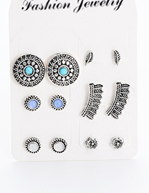 Fashion Silver Color Flower Shape Decorated Earrings(6pairs)