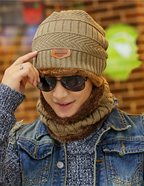 Fashion Khaki Stripe Pattern Decorated Hat