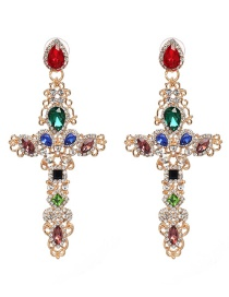 Fashion Multi-color Full Diamond Decorated Cross Shape Earrings