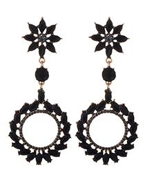 Fashion Black Full Diamond Decorated Round Earrings