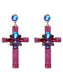 Fashion Purple Cross Shape Design Earrings