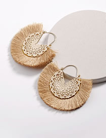 Fashion Khaki Hollow Out Design Tassel Decorated Earrings