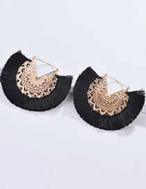Fashion Black Hollow Out Design Tassel Decorated Earrings