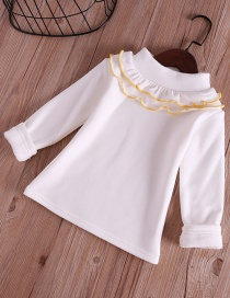 Fashion White Pure Color Decorated Blouse