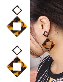 Fashion Black+yellow Hollow Out Deisgn Square Shape Earrings