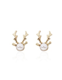Fashion Gold Color Deer Shape Design Earrings