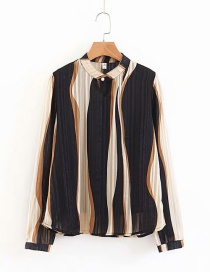 Fashion Black Stripe Pattern Decorated Shirt