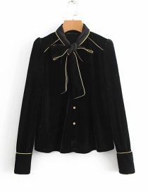 Fashion Black Pure Color Decorated Shirt