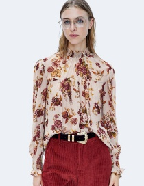 Fashion Claret Red Flower Pattern Decorated Blouse