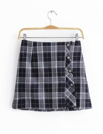 Fashion Gray Grids Pattern Decorated Skirt