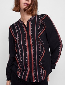 Fashion Black Embroidery Decorated Blouse
