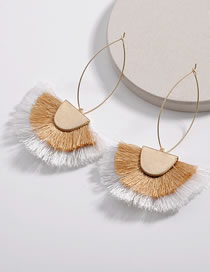 Fashion Khaki+white Tassel Decorated Earrings