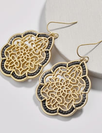 Fashion Gold Color Hollow Out Design Flower Pattern Earrings