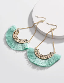Fashion Light Green Tassel Decorated Earrings