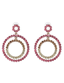 Fashion Pink Full Diamond Decorated Round Earrings
