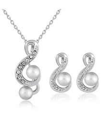 Fashion Silver Color Note Shape Decorated Jewelry Set