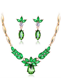 Fashion Green Geometric Shape Decorated Jewelry Set