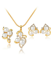 Fashion Gold Color Irregular Shape Decorated Jewelry Set