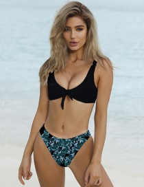 Sexy Black Leaf Pattern Decorated Swimwear(2pcs)