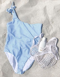 Sexy Blue Stripe Pattern Decorated Swimwear