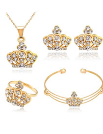 Fashion Gold Color Crown Shape Decorated Jewelry Set (5 Pcs )