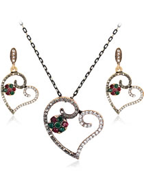 Simple Multi-color Heart Shape Decorated Jewelry Set (3 Pcs )