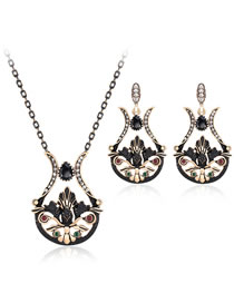 Vintage Black Flower Shape Decorated Jewelry Set (3 Pcs )