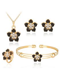 Fashion Black+gold Color Flower Shape Decorated Jewelry Set (5 Pcs )