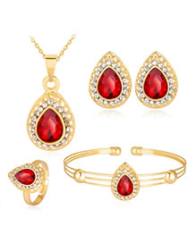 Fashion Red+gold Color Water Drop Shape Decorated Jewelry Set ( 5 Pcs )